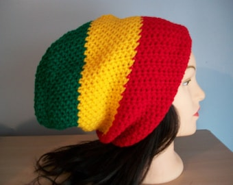 Rasta Hat Slouchy Stocking Cap Crocheted