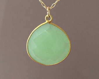 Gold Green Chalcedony Teardrop Necklace Long or Short