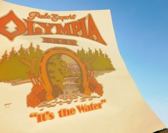 Vintage Original Olympia Beer It's The Water Iron-On T-Shirt Transfer