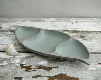 Painted Vintage Wood Bowl. In Shark Gray and Antiqued Tidepool
