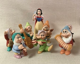 Disney Porcelain Snow White & Seven Dwarfs with Musical Instruments Figurines