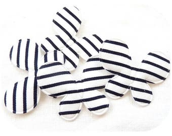 SET OF 4 BUTTERFLY APPLIQUES WHITE BLACK STRIPE SCRAPBOOKING JEWELRY