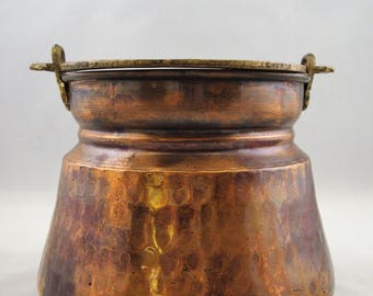 Vintage HAND MADE COPPER Pot Two Headed Snake Brass Handle Hammered Metal Solid Copper Pot Hallmarked Solid Copper Brass Swing Handle Pot