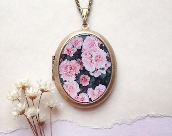 Blush Azalea Locket - Secret Garden Collection - Floral Photo Necklace - Fairy Tale Flowers