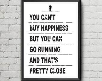 Running quote 'You can't buy happiness but you can go running' - poster print wall art motivation gift