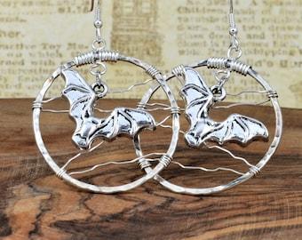 Flying Bat Earrings, Handmade Earrings, Textured Wire Earrings, Hoop Earrings with Bats