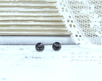 4mm Earrings Gray Stud Earrings Small Studs Gray Crystal Studs Surgical Steel Studs Gift For Her