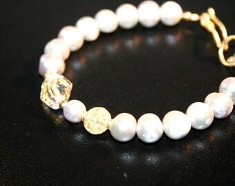 ZENDER FW Pearl, Swarovski Crystal, Vermeil and Goldfilled Bracelet