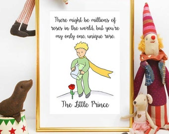 The Little Prince Quotes, Little Prince Rose Quote, The Little Prince Print, The Little Prince Wall Art, The Little Prince Party