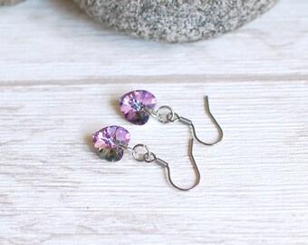 Tiny Heart Earrings Swarovski Earrings Swarovski Heart Jewelry Drop Earrings Gift for Her Gift Idea Surgical Steel Choose Your Color