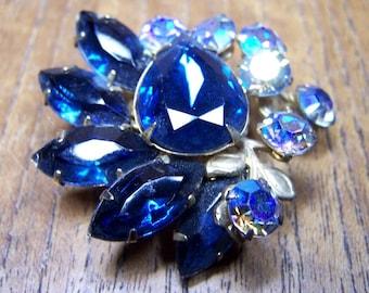 Dark & Light Blue Rhinestone Floral Brooch Unsigned