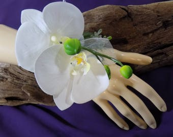 Wrist Corsage - White Phalaenopsis Orchid Corsage - Floral Corsage- Prom Corsage - Mother of the Bride Corsage