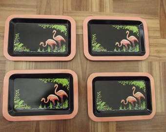 Set of 4 FOUR - Vintage Flamingo Mini  Tip Trays - from the 1950's - FABULOUS