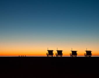 Venice Beach Sunset,Silhouette, Lifeguard Station, Instant Download,California