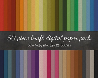 B2G1 HUGE 50 Piece Kraft Digital Paper Pack - Kraft Texture Scrapbook Paper - Kraft Paper Background Texture Pattern Scrapbook Kraft Paper