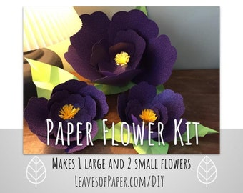 DIY Paper Flower Kit: Makes 1 Large and 2 Small Flowers - Easy Craft Project - Girls Craft Night Kit - Perfect for Mother's Day Baby Shower