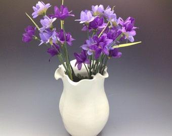 Flowered White Porcelain Bud Vase