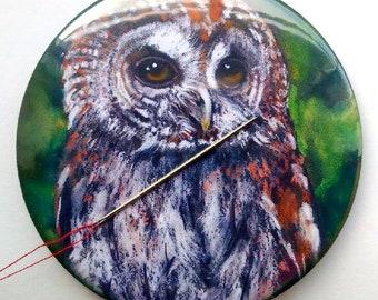 "Needle Holder and Fridge Magnet, 3.5"", Tawny OWL, From Original Art, Bird, Wildlife, Sewing Gadget"