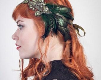 Art Nouveau Flapper Headband Emerald Peacock Green, Feather Headband