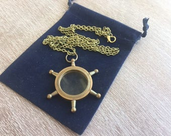 """Antique Finish Brass Ship Wheel Magnifying Glass w/ 30"""" Chain & Velour Bag - Necklace Pendant Charm - Old Vintage Style - Nautical Maritime"""