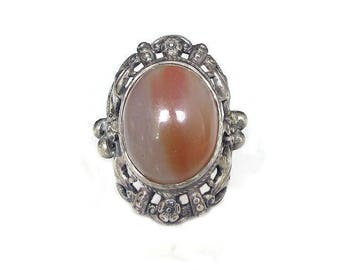 Sterling Art Nouveau Agate Ring - Banded Agate, Floral Filigree, Vintage Ring, Vintage Jewelry, Size 6