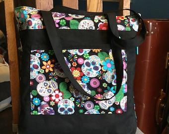 Large sugar skull bag, tote, shoulder bag, sugar skull print, alternative, Mexican, day of the dead, goth, a4 folder, gym bag, school bag