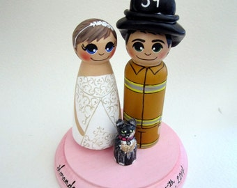 Wedding Cake Topper / Custom Painted Wood Peg Dolls / Firefighter / Bride / Nurse/ Couple Plus One Pet and Plaque