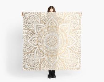 Gold Mandala Pattern Scarf, Wedding Shawl, Bohemian Scarf, Gold Scarf, Mandala Scarf, Girlfriend Gift, Boho Mandala Scarf, Large Gold Scarf