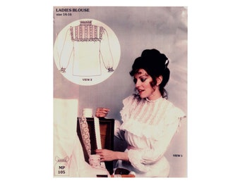 des années 80 Français à la main motif style victorien Blouse patron Gunne Sax style vintage 38-30-40 volante Blouse Prairies Margaret Pierce 105