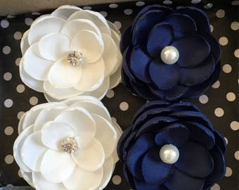 Navy Blue Ivory bridal hair flowers with crystals and pearls, Handmade hair accessories, Wedding Ornaments, Something blue, Hair Bobby Pins