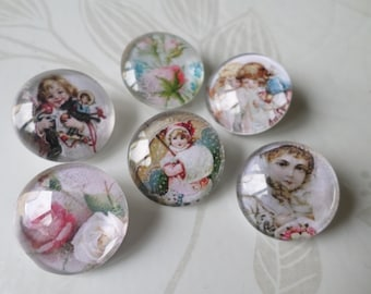x 6 mixed snaps to round glass vintage pattern 20 mm B flower/Kids jewelry