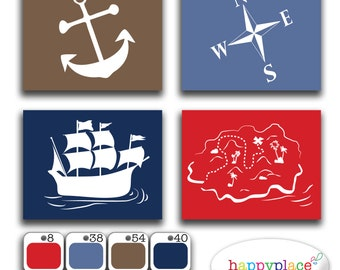 Custom Pirate Silhouette Prints - Choose Size Colour and Image to suit decor, Boys Bedroom, Playroom or Nursery. Printable Digital File.