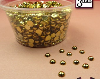300 pcs 3 mm GOLD Tone HALF PEARL Flatbacks / Decoden Half Pearls