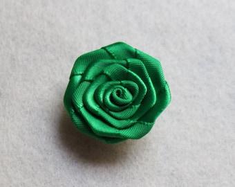 Emerald green flower lapel pin