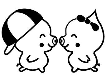 Lovely pig couple vinyl sticker decal