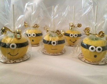 Minion inspired Chocolate Covered Apples