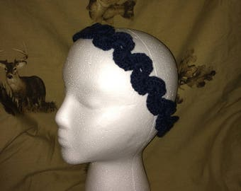 Blue Jean Crochet Scallop Shell Head Band Adult Woman Girl