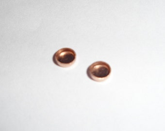 10k  gold bezel cups - rose or yellow - solid gold - 2mm, 3mm 4mm 5mm 6mm 7mm 8mm 10 mm - 1 pieces