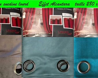 Rideau suedine  effet Alcantara  Occultant (145x280cm),Bleu vert canard , bleu turquoise clair , taupe