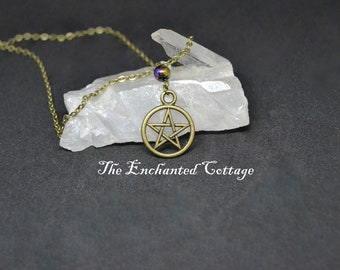 Stainless Steel Bronze Pentagram & Hematite Necklace~ Pagan Necklace~ Wiccan Jewelry~ Magickal Trinket~ Witchy Bauble