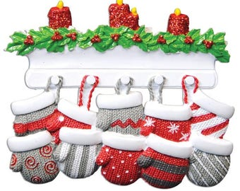 Family of 10 Ornament Mitten Ornament Family Mittens Personalized Christmas Ornament