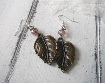 leaf ear rings fish hook bohemian ear rings pierced earrings brass leaf metal leaf earrings leaf jewelry boho leaves aged brass purple bead