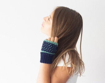 Sales Blue fingerless gloves with turquoise dots mittens hand knit gloves half finger gloves womens knit gloves hand warmers