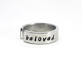 Beloved Ring, Custom Made Personalized Hand Stamped Ring, Adjustable Aluminium Cuff Ring