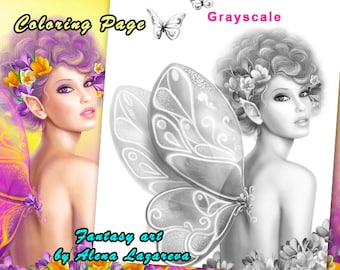Coloring Page, Grayscale illustration for coloring . Beautiful girl fairy butterfly