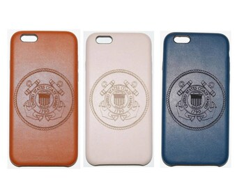 Laser engraved United States Armed Forces Coast Guard PU leather iPhone case