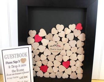 heart drop  box guest book guestbook drop box wedding wish box heart drop box heart frame