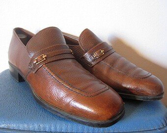 Vintage 70s Men's Brown Cognac Leather Loafers Size 10