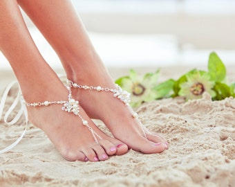 Barefoot sandles, beach wedding shoes, beaded wedding sandals, bridal foot jewelry,  soleless sandles. JESSICA Cream Large