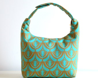 Women Lunch Bag, Insulated Lunch Bag, Women Small Bag, Lunch Tote-Art Deco Mint Green Orange